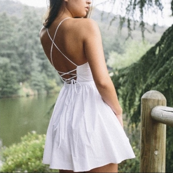 2c3e07474659 American Apparel Dresses | White Tie Back Lace Up Dress | Poshmark